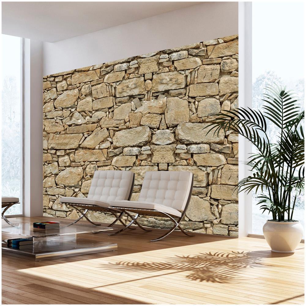 Muro Fatto In Pietra artgeist carta da parati muro di pietra 100x70cm