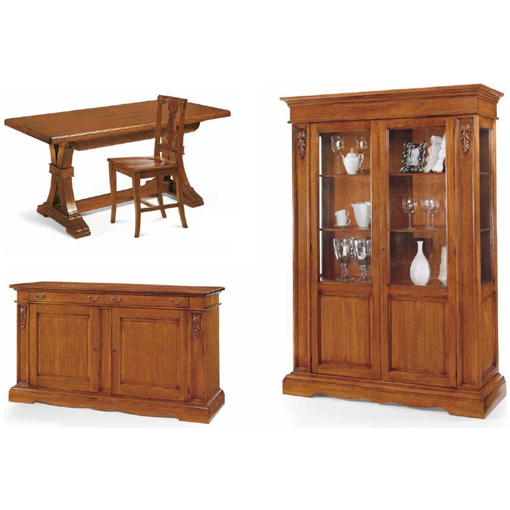 Mobili Sala Da Pranzo Classica.Mobili 2g Sala Da Pranzo Completa Credenza Contromobile Tavolo Sedie Arte Povera Classica
