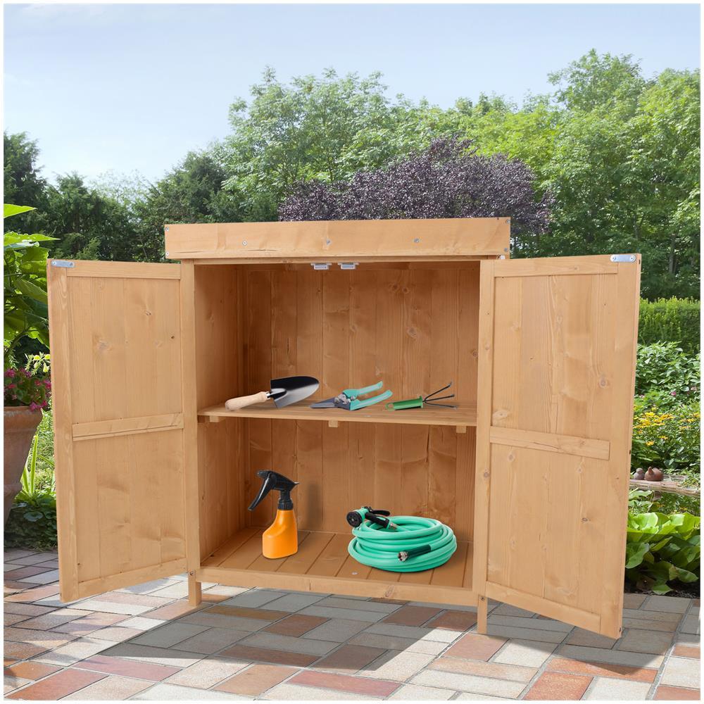 Ripiani Armadio Fai Da Te outsunny armadio da esterno ripostiglio da giardino a 2 ripiani porta  attrezzi in legno 74x43x88cm