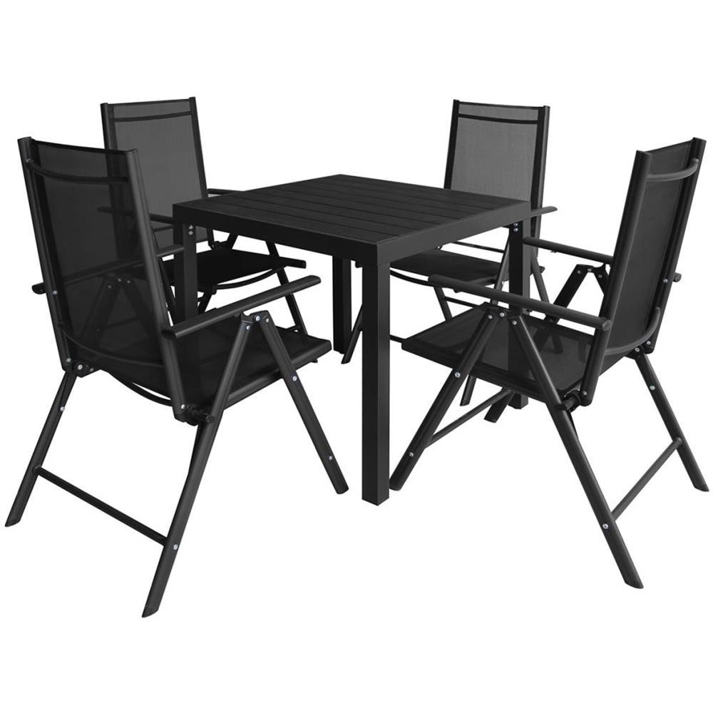 Set Tavolo E Sedie Da Giardino In Alluminio.Vidaxl 5 Pz Set Tavolo E Sedie Da Giardino In Alluminio E Wpc