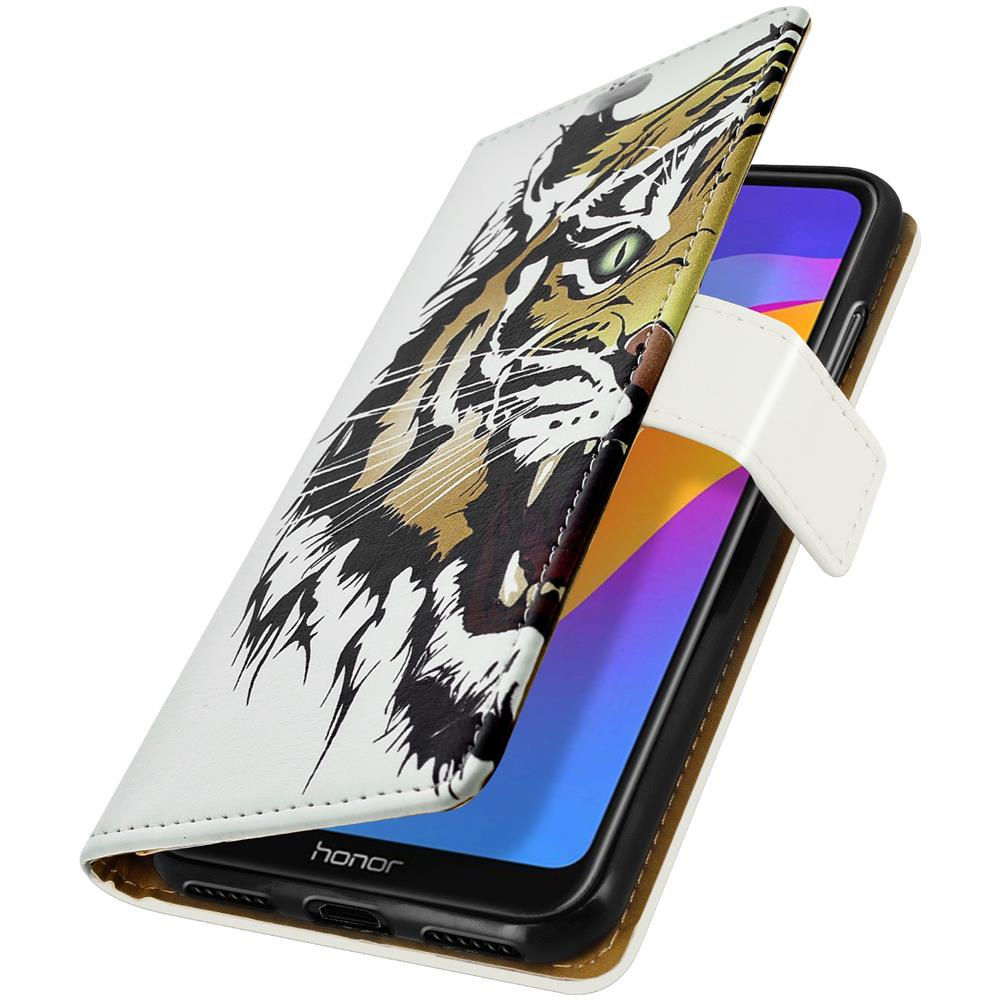 Avizar Custodia Huawei Y6 2019 / honor 8a Custodia Portafoglio Tiger Portacarte Bianco