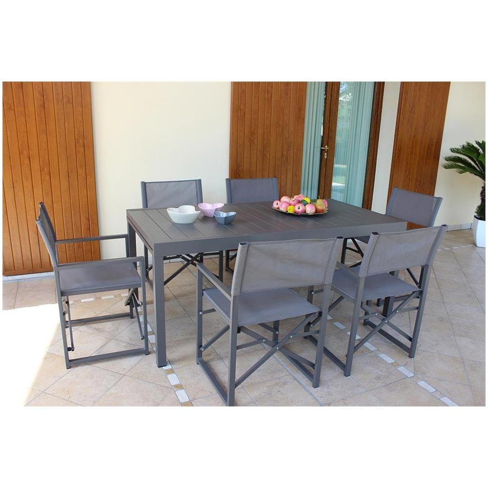 Tavolo Giardino Alluminio Allungabile.Milanihome Set Tavolo Giardino Allungabile Rettangolare 160 240