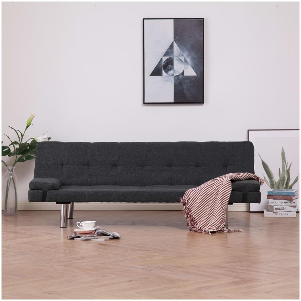 Soggiorno Con Divano Grigio Scuro vidaxl divano letto con 2 cuscini grigio scuro in poliestere