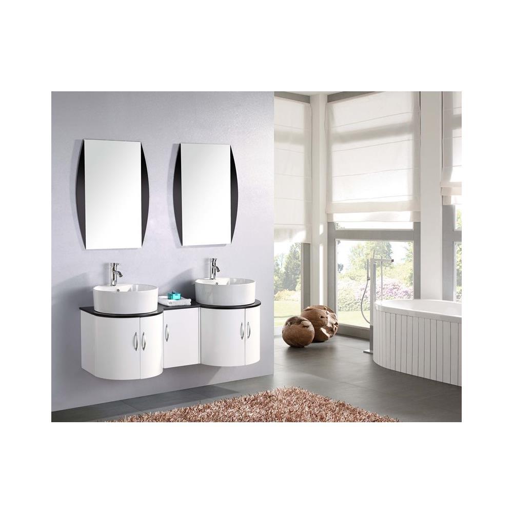 Lavandino Bagno Con Piede bagno italia mobile bagno da 138 cm laccato bianco lavandino da appoggio  con specchiera moderno design