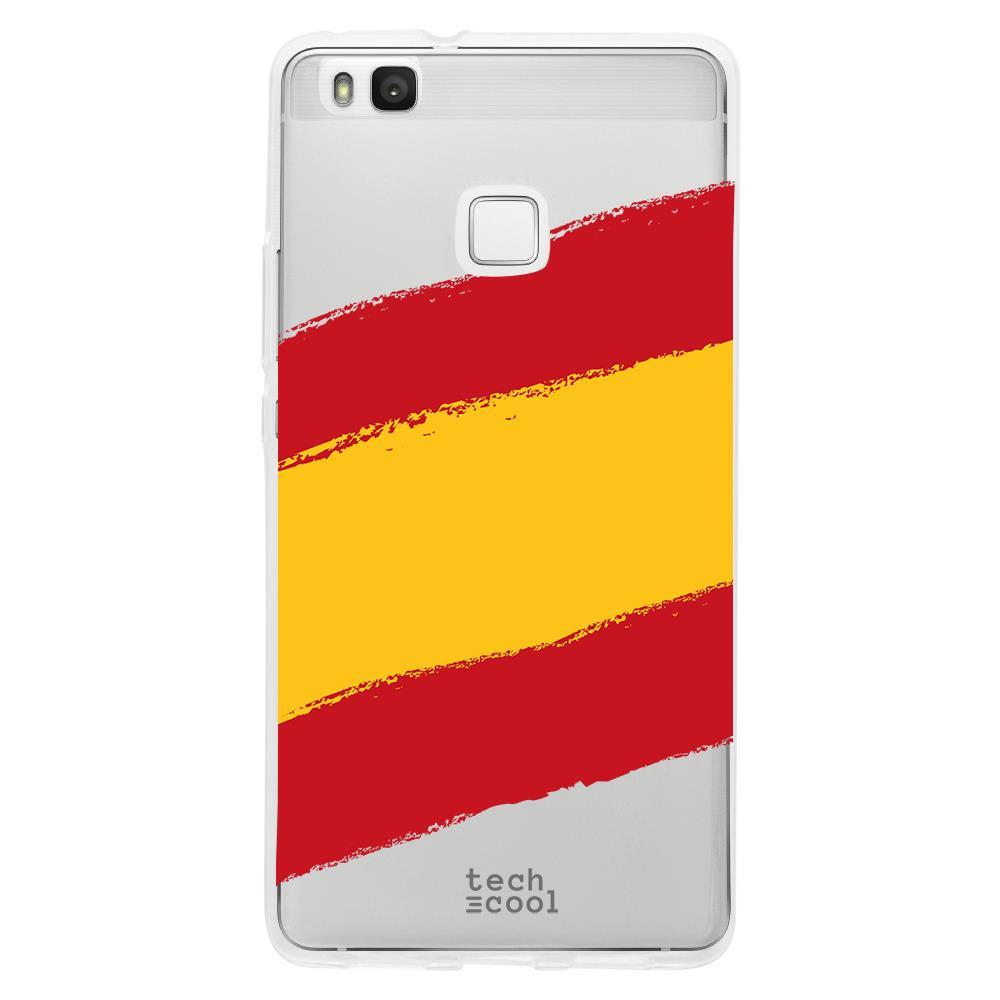 TECHCOOL Custodia Per Huawei P9 Lite L Cover Silicone Spagna Bandiera Trasparente