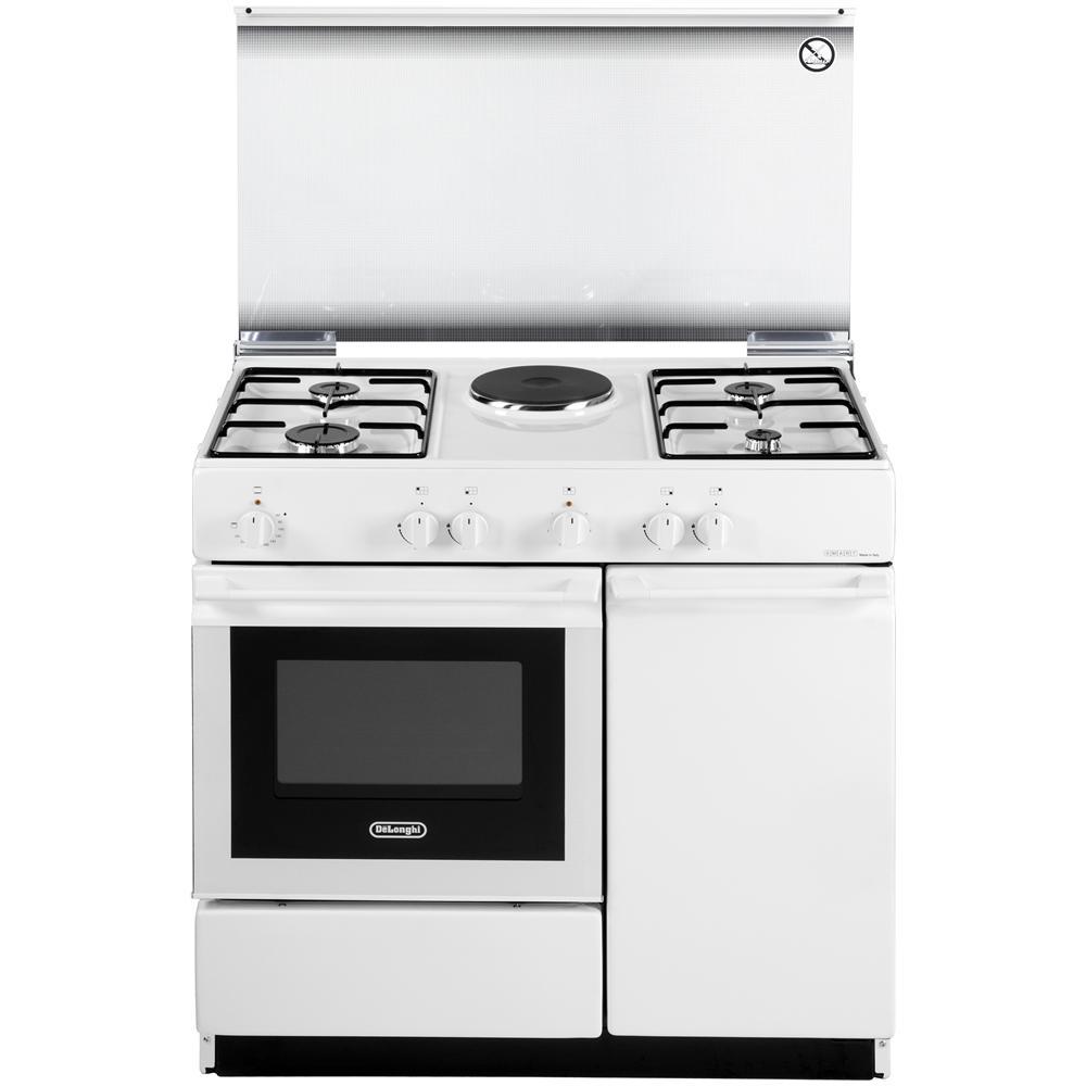 DE LONGHI Cucina Gas Con Forno Elettrico SEW 8541 N 4 Fuochi Acciaio Inox  Colore Bianco
