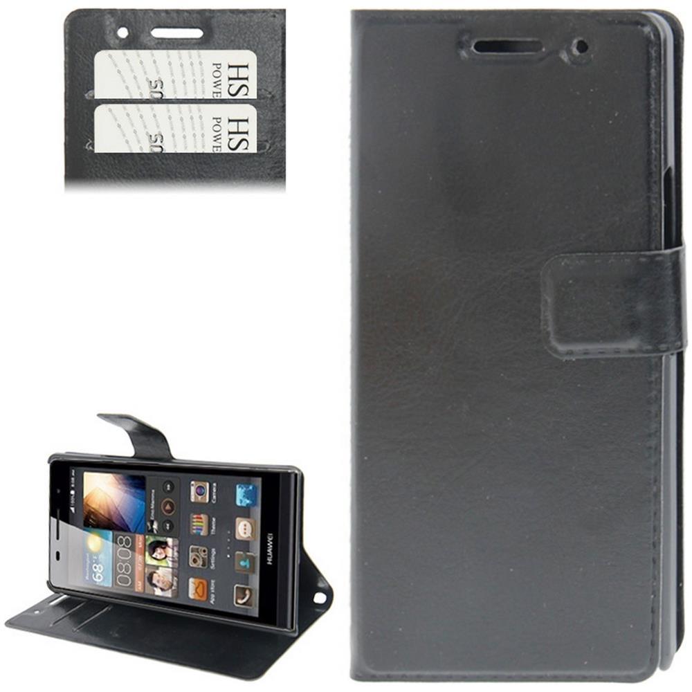 DIGITAL BAY Custodia Cover Eco Pelle Nero Credit Card Slots Holder Per Huawei Ascend P6