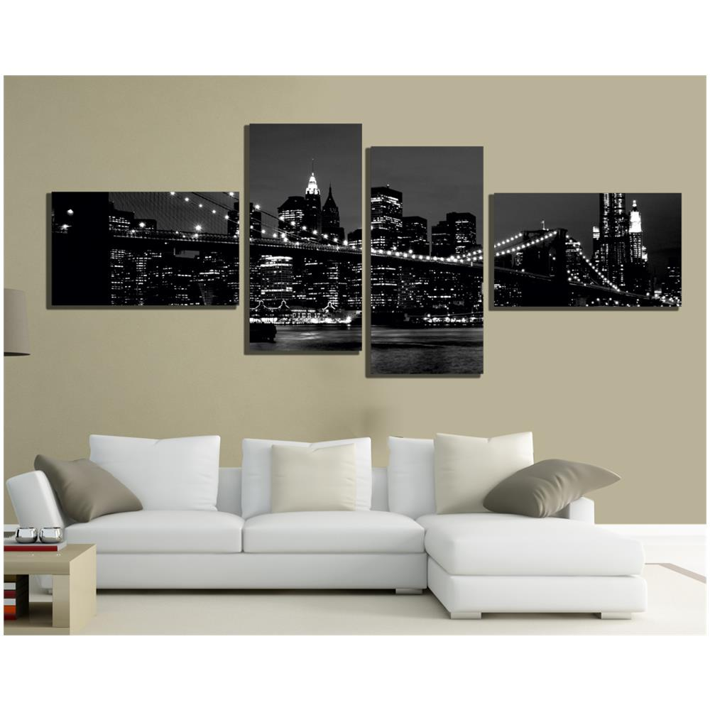 pixel comunicazione Quadri Moderni Tela 200x100 4pz Arredo New York Skyline  Bianco E Nero Paesaggio