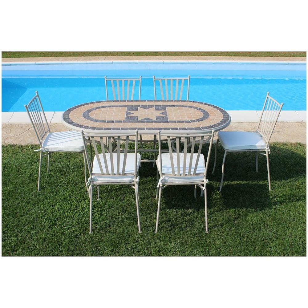 Tavoli Mosaico Per Esterno.Milanihome Set Tavolo Giardino Ovale Fisso Con Piano In Mosaico