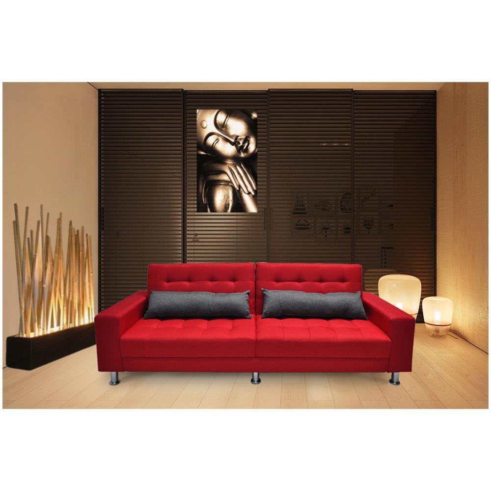 Samira - Divano letto clic clac in tessuto rosso, divano 3 posti mod ...
