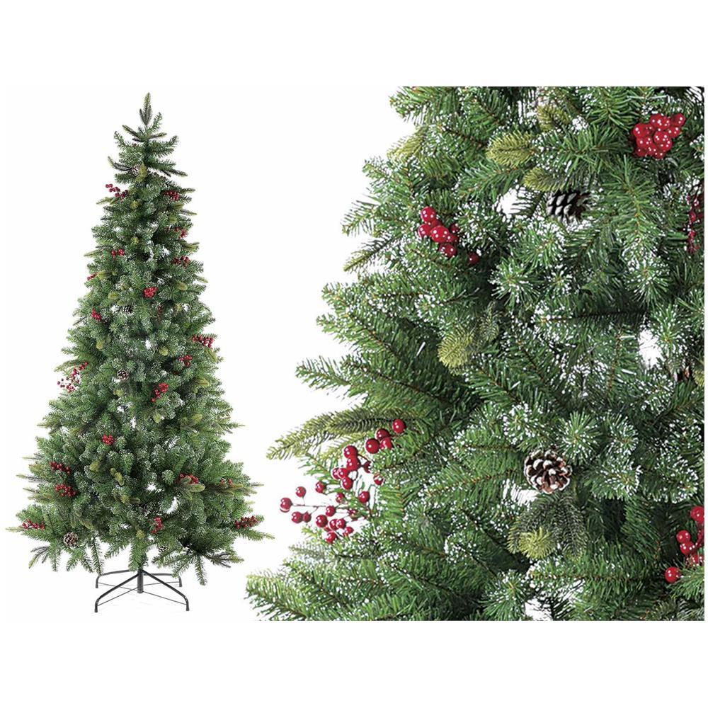 Albero Di Natale Con Pigne.Gruppo Maruccia Albero Di Natale Con Pigne E Bacche 693 Rami Altezza 210 Centimetri Eprice