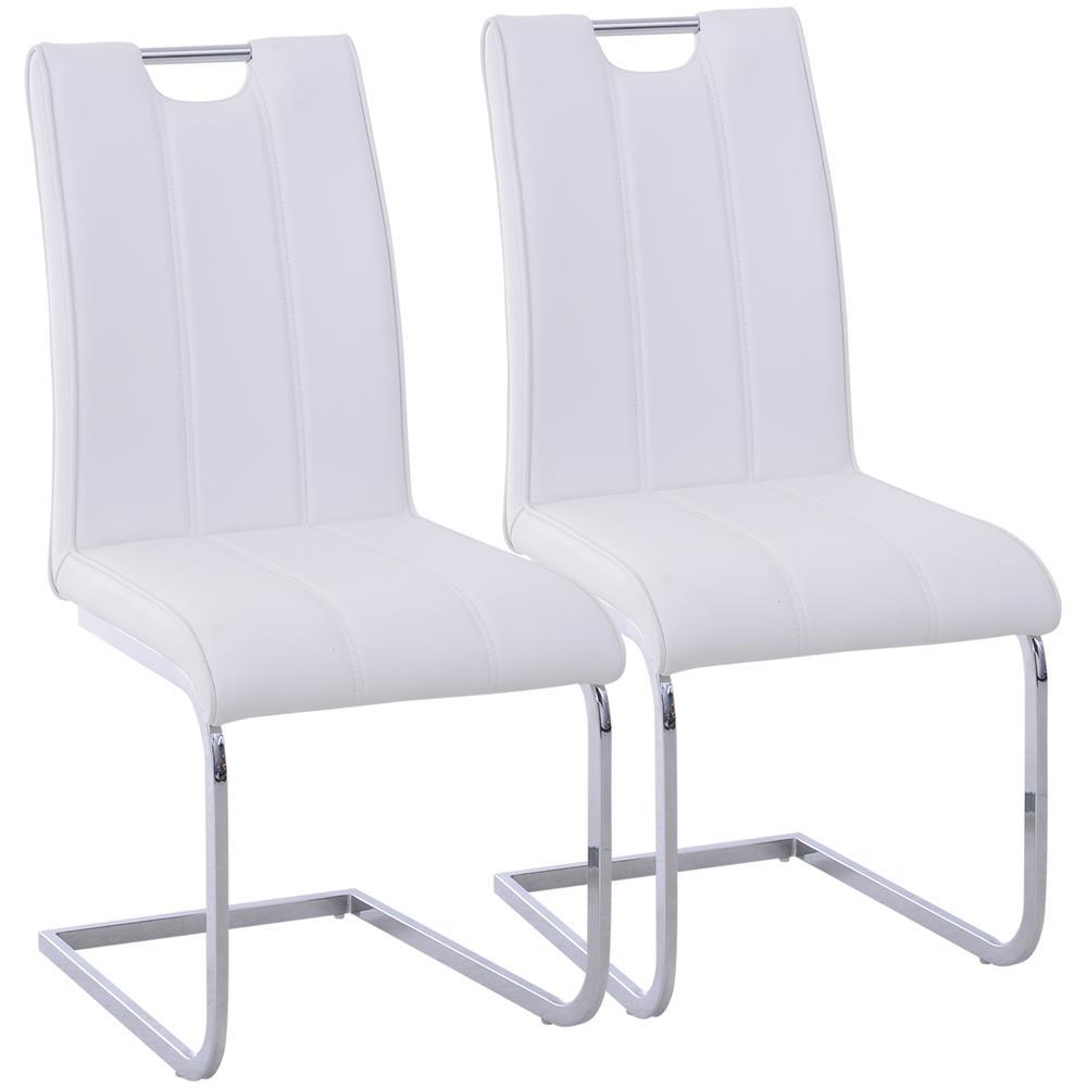 Sedie Pelle Design.Homcom Set 2 Sedie Design Moderno In Metallo Con Rivestimento In Pelle Pu Bianco
