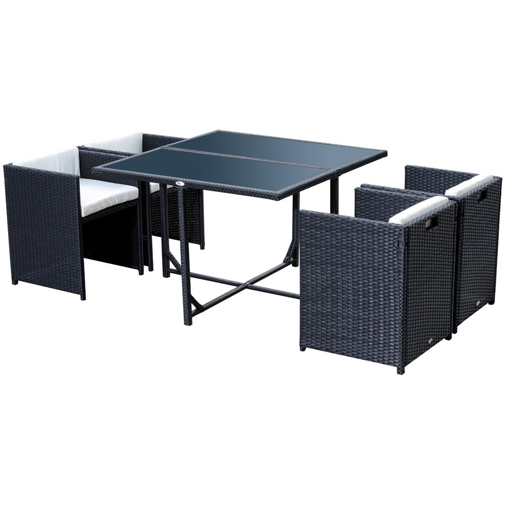 Tavolo Da Giardino Con 4 Sedie.Outsunny Set Mobili Da Giardino 5pz Set Tavolo Da Pranzo Con 4
