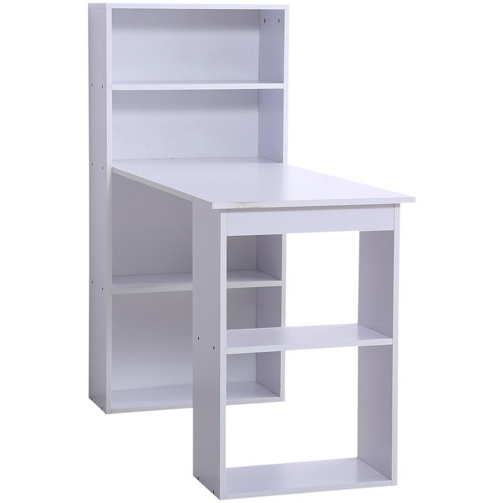 Scrivania Libreria Per Computer.Homcom Scrivania Con Libreria In Legno Bianco 120x55x120cm Eprice
