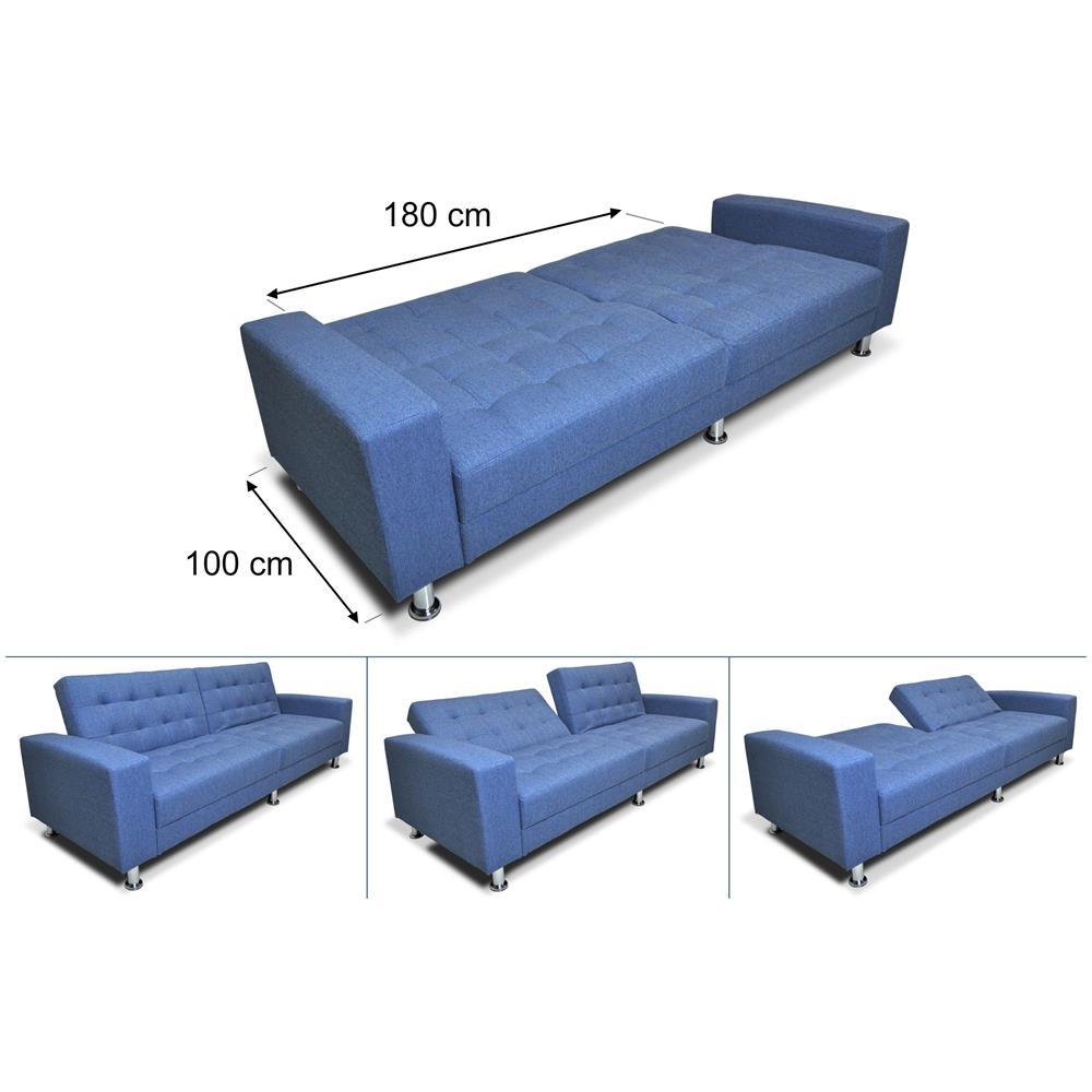 Samira Divano letto clic clac in tessuto blue cobalto, divano 3 posti Giulia
