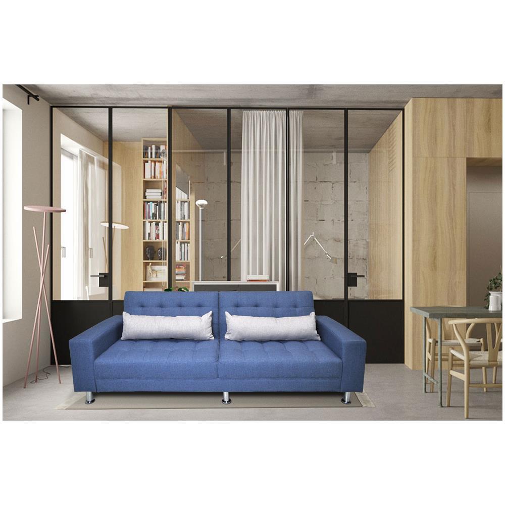 Samira - Divano letto clic clac in tessuto blue cobalto, divano 3 ...