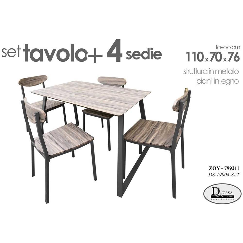 Argonauta Set Tavolo Con 4 Sedie Cucina Soggiorno Tavolo Cm 110x 70 X 76 H Eprice