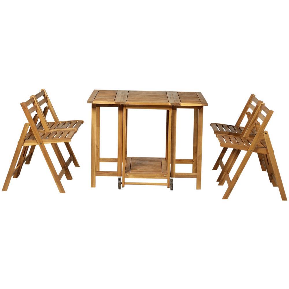 4 Sedie In Legno.Outsunny Set Da Pranzo 5pz Per Giardino Esterno Tavolo Estensibile E 4 Sedie In Legno