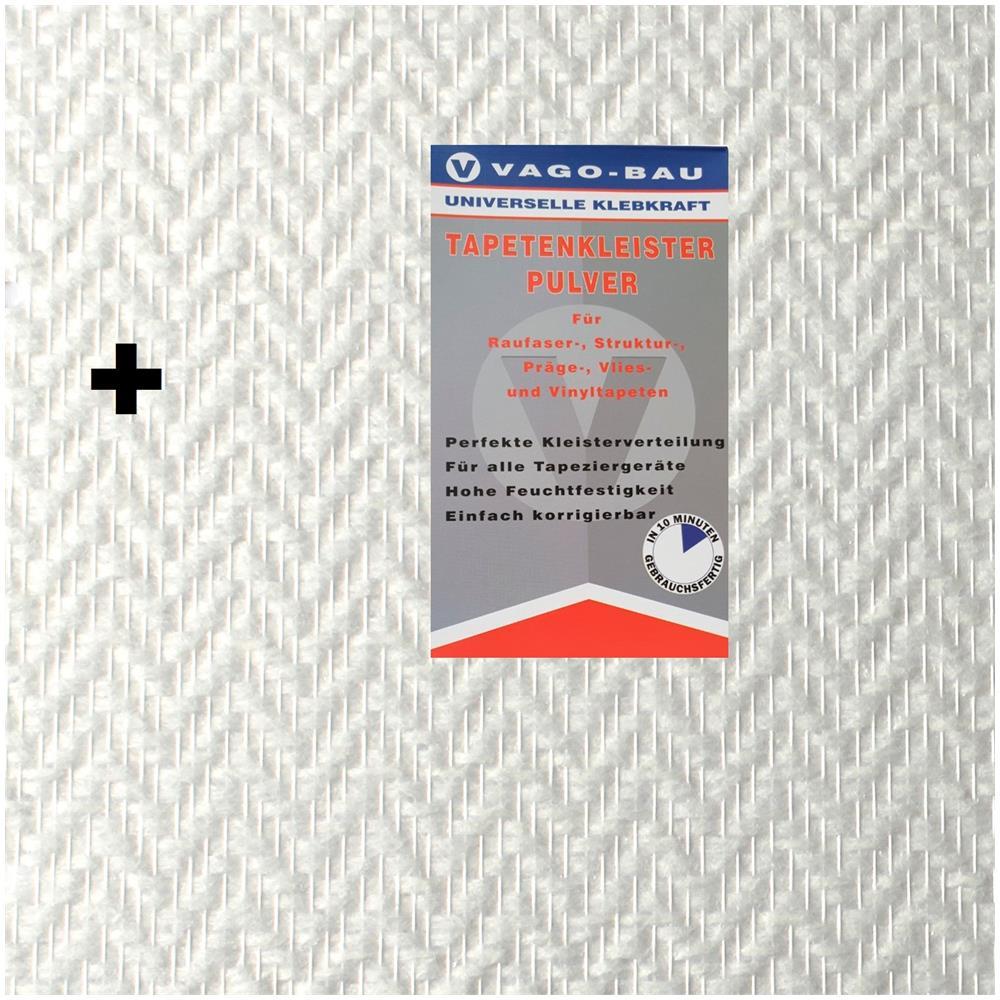 Carta Da Parati Verniciabile vago-tools 1x25m² in fibra di vetro carta da parati incl. tessuto in fibra  di vetro colla da parati a zig-zag in tessuto 140 vetro