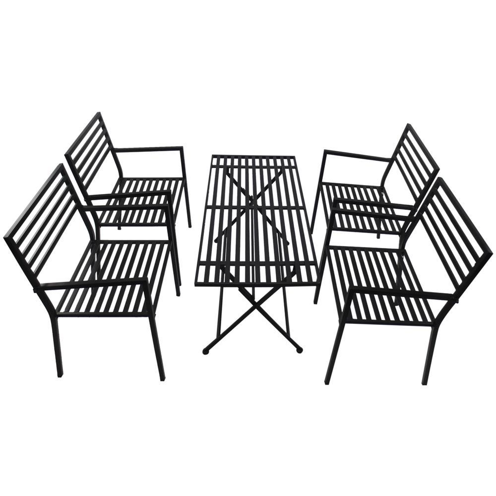 Tavolo Da Giardino Pieghevole Con Sedie.Outsunny Set Mobili Da Giardino 5pz In Metallo 4 Sedie Con
