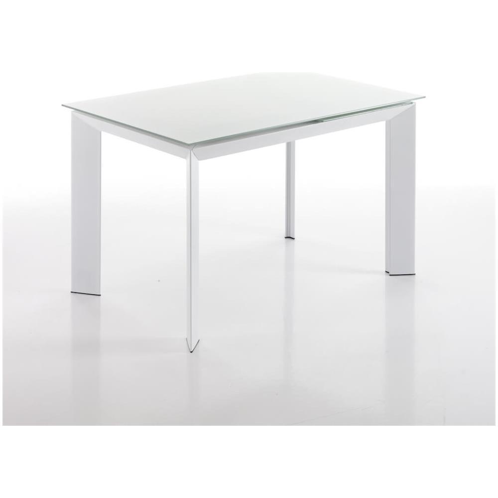 Tomasucci Tavolo Allungabile In Metallo Con Piano In Vetro Temperato Tomasucci Blade 120 White