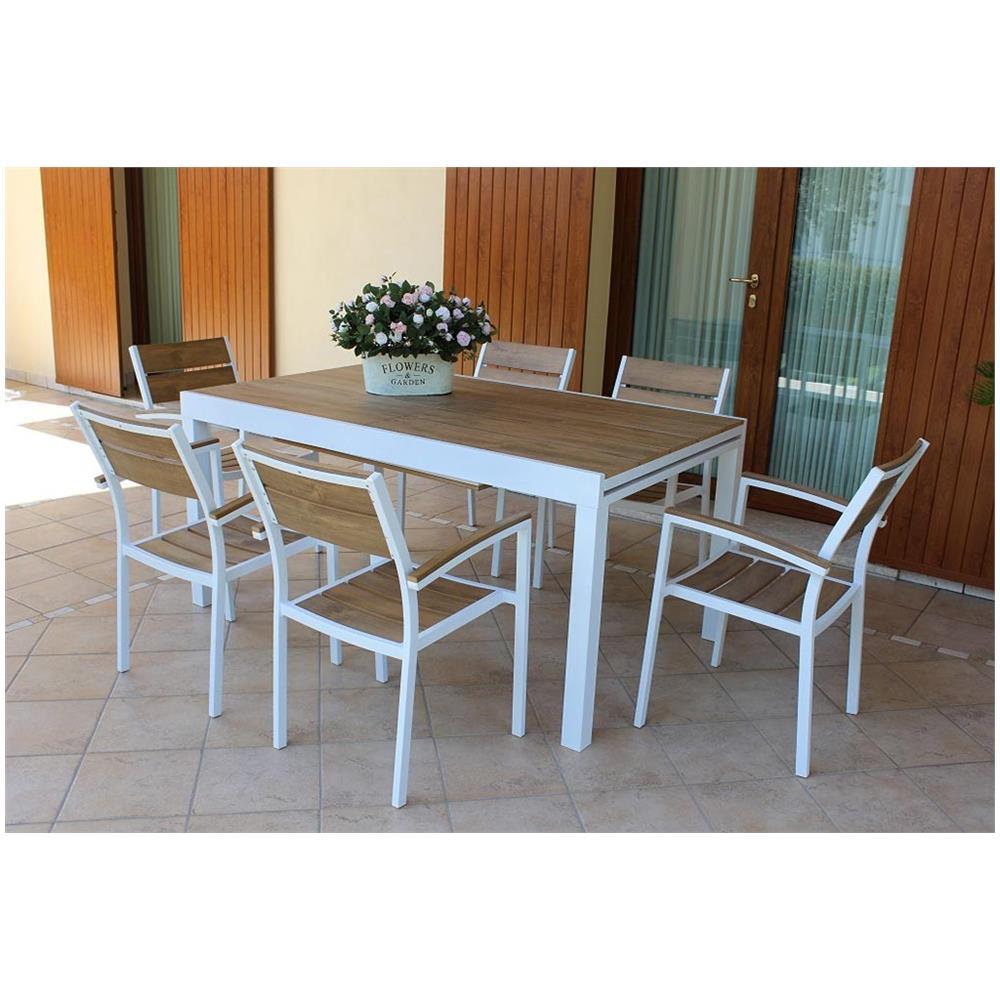 Tavolo Esterno Allungabile Bianco.Milanihome Set Tavolo Giardino Allungabile Rettangolare 200 300
