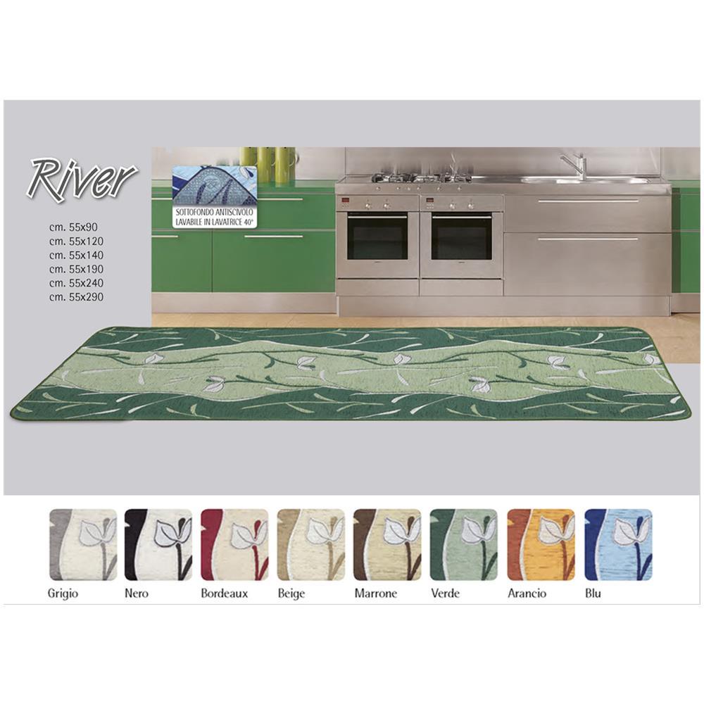Biancheria Web Tappeto Da Cucina Disegno River 55x290 Beige Eprice