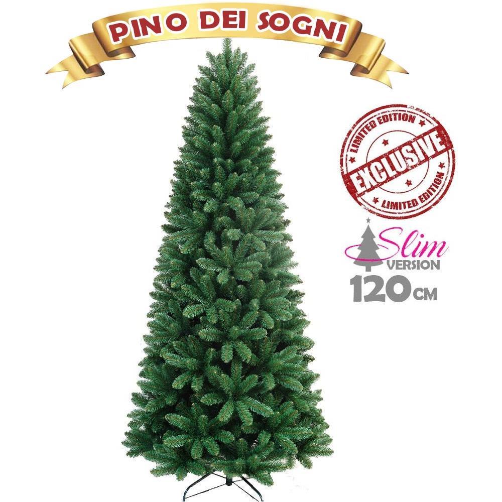 Albero Natale.Bakaji Albero Di Natale Slim Pino Dei Sogni Altezza 120 Cm Base A Croce 295 Rami Eprice