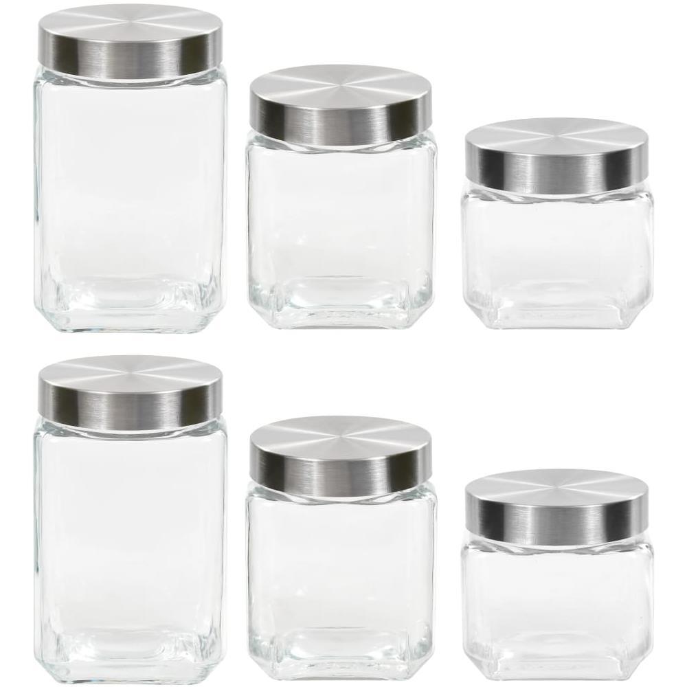 Contenitori Vetro Per Conserve vidaxl barattoli in vetro con coperchio argento 6 pz 800/1200/1700 ml