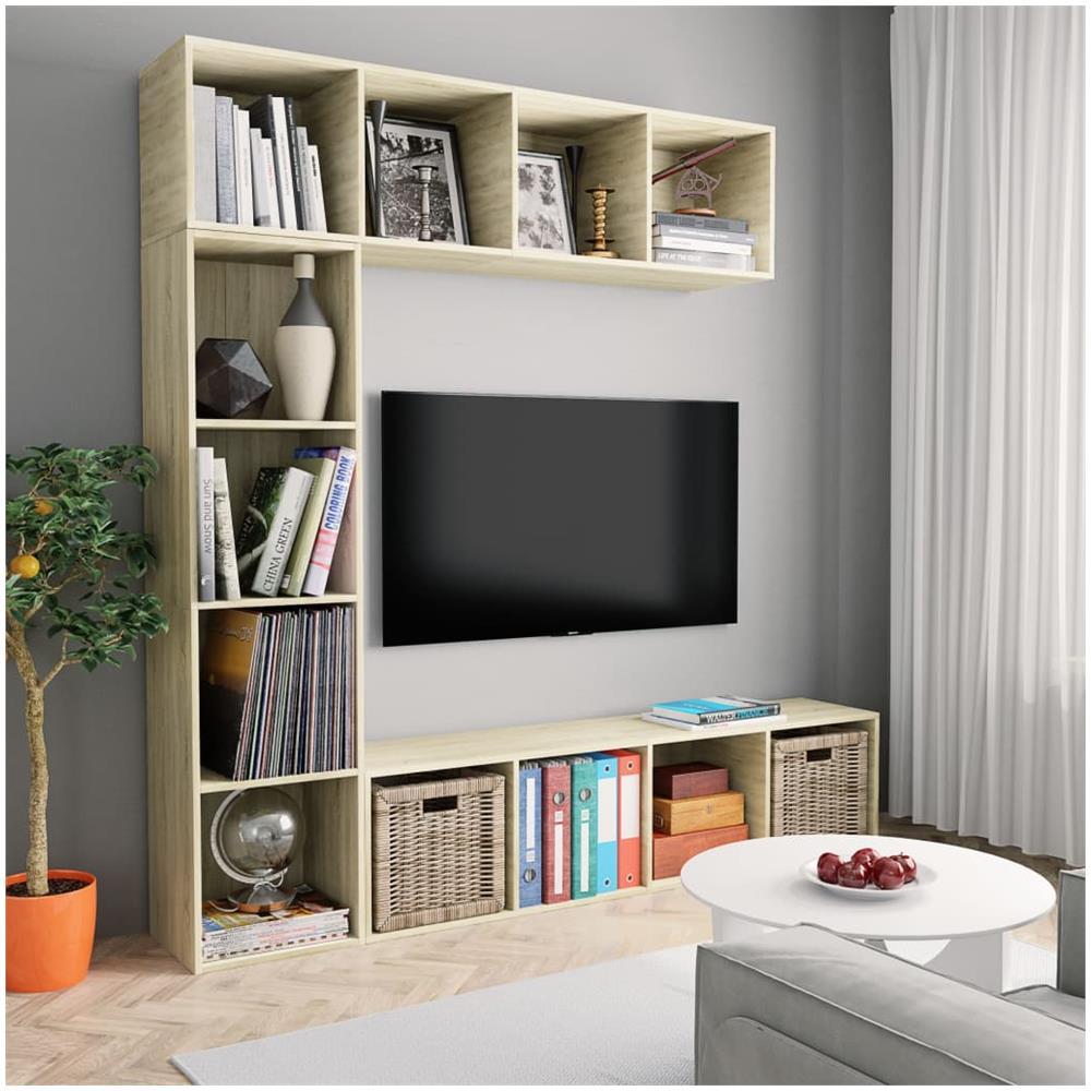 Libreria Per Libri Pesanti vidaxl libreria / mobile per tv set da 3 pz rovere sonoma 180x30x180 cm