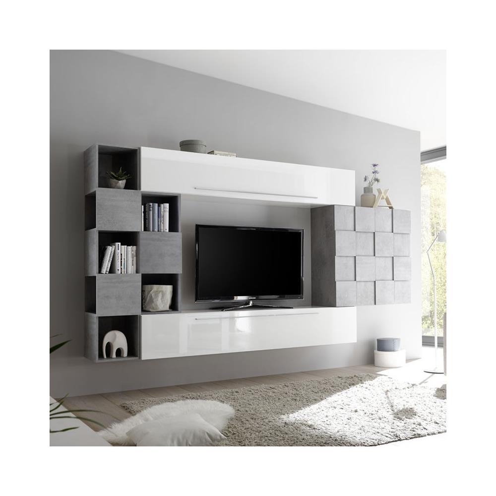 Lo Space Senza Pareti argonauta parete attrezzata bianco lucido e effetto cemento 320xh. 200x36 cm