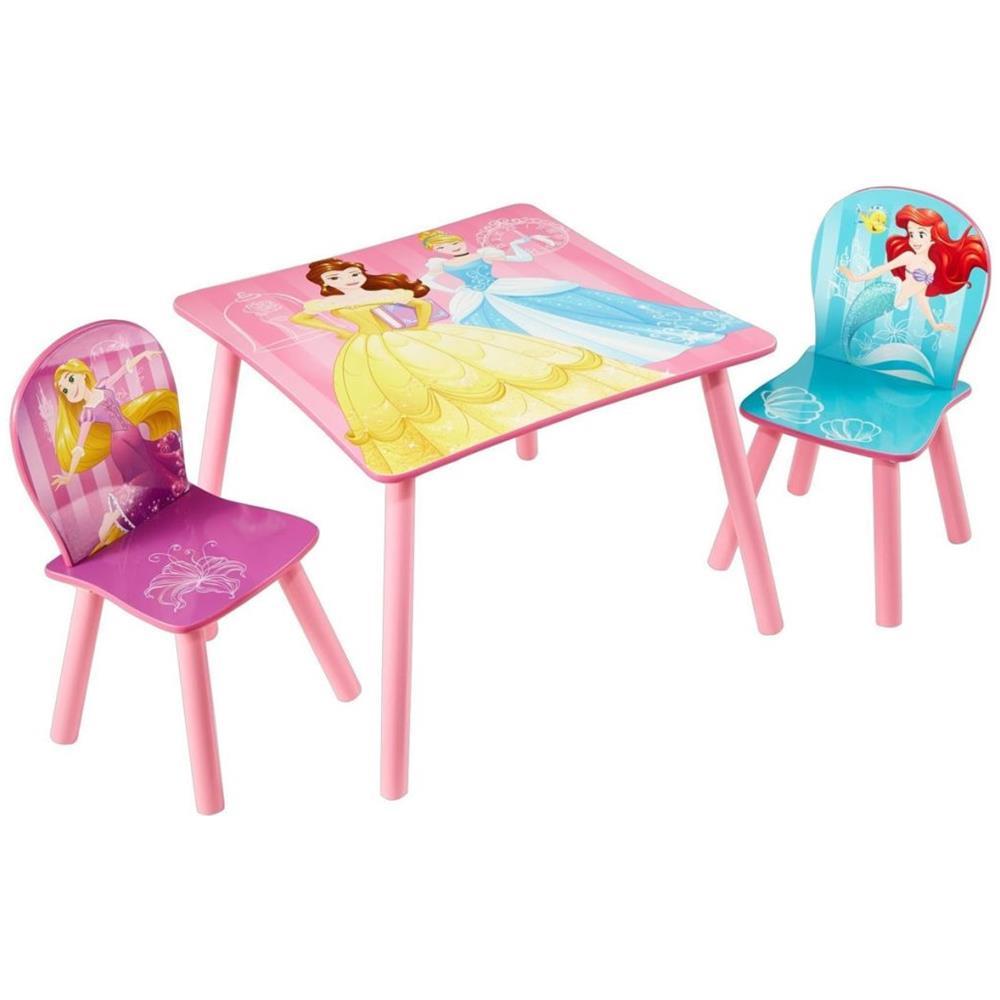 Tavolino Disney Legno.Walt Disney 3 Pz Set Tavolo E Sedie Princess In Legno 45x63x63 Cm Rosa Worl660020