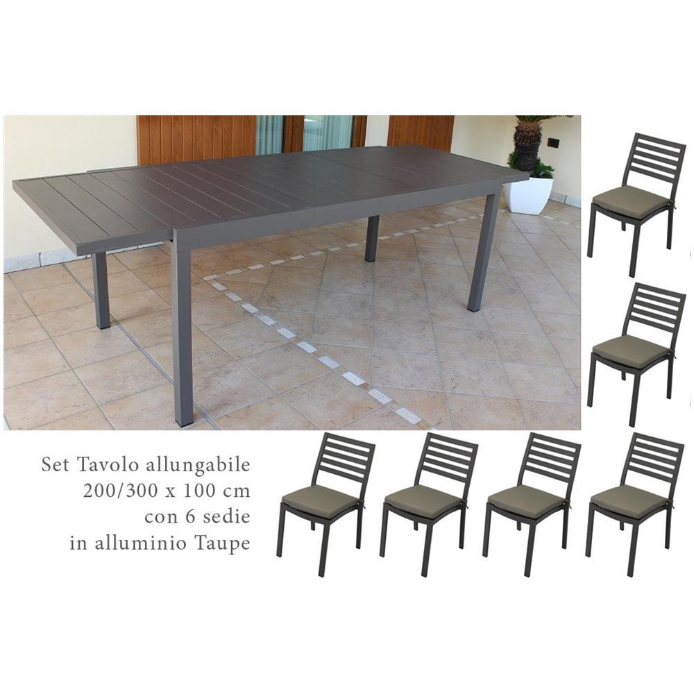 Tavolo Allungabile In Alluminio.Milanihome Set Tavolo Giardino Allungabile Rettangolare 200 300 X