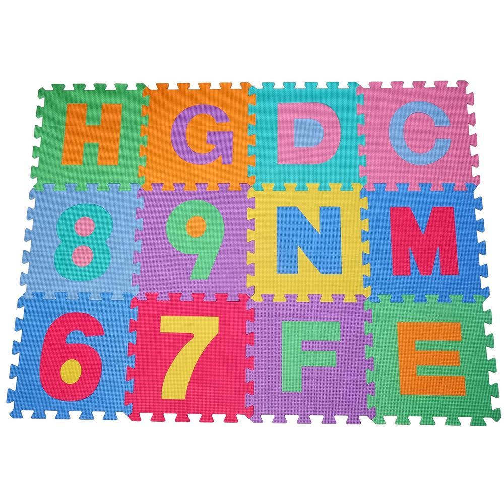 5b2f00ad4c HOMCOM - Tappeto Puzzle Gioco Bambini 36 Pezzi - 26 Lettere dell'Alfabeto e  Numeri da 0-9 - ePRICE