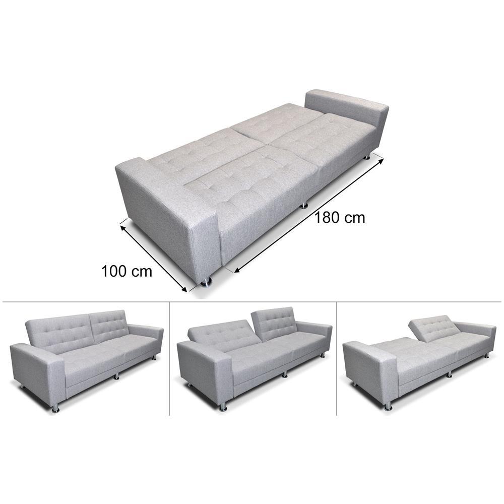Samira Divano letto clic clac in tessuto grigio chiaro, divano 3 posti  Giulia