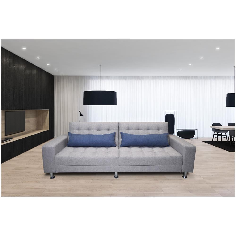 Samira - Divano letto clic clac in tessuto grigio chiaro, divano 3 ...