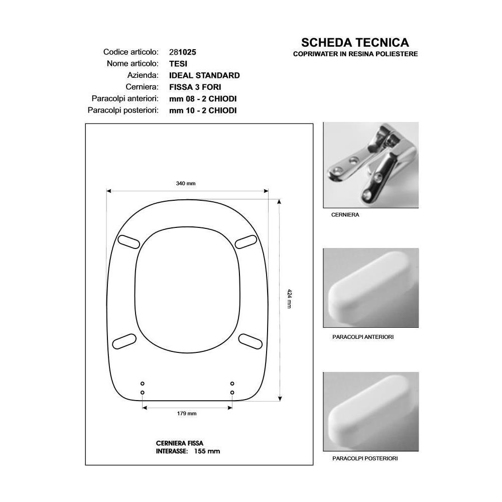 Sedile Wc Ideal Standard Serie Tonda.Acb Colbam Copriwater Ideal Standard Tesi Visone I S Cerniera