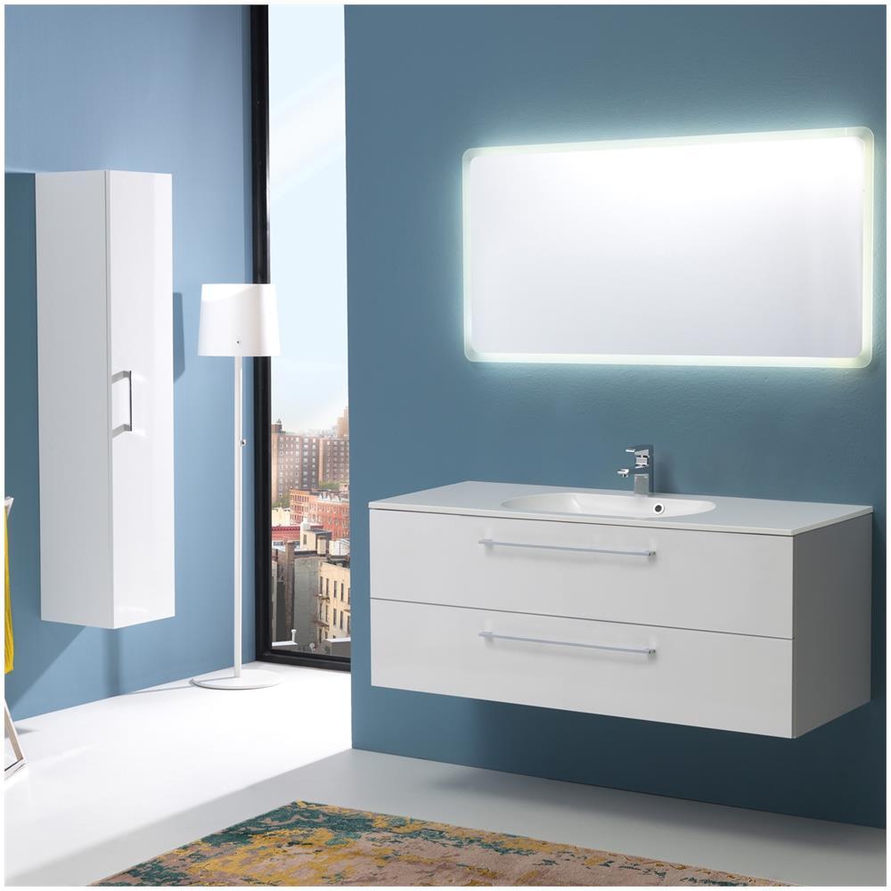 kiamami valentina mobile bagno 120 cm con cassetti boston in bianco lucido specchio. Black Bedroom Furniture Sets. Home Design Ideas