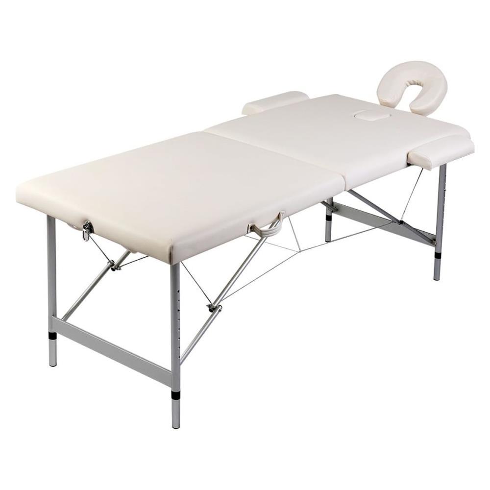 Lettino Massaggio Pieghevole Alluminio.Vidaxl Lettino Massaggio Pieghevole Bianco Crema 2 Zone Con Telaio
