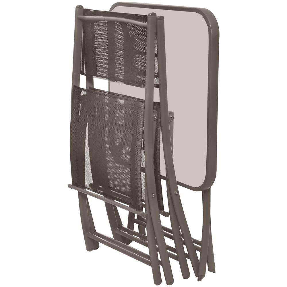 Set tavolo tortora con 2 sedie pieghevoli in ferro e textilene Tortora