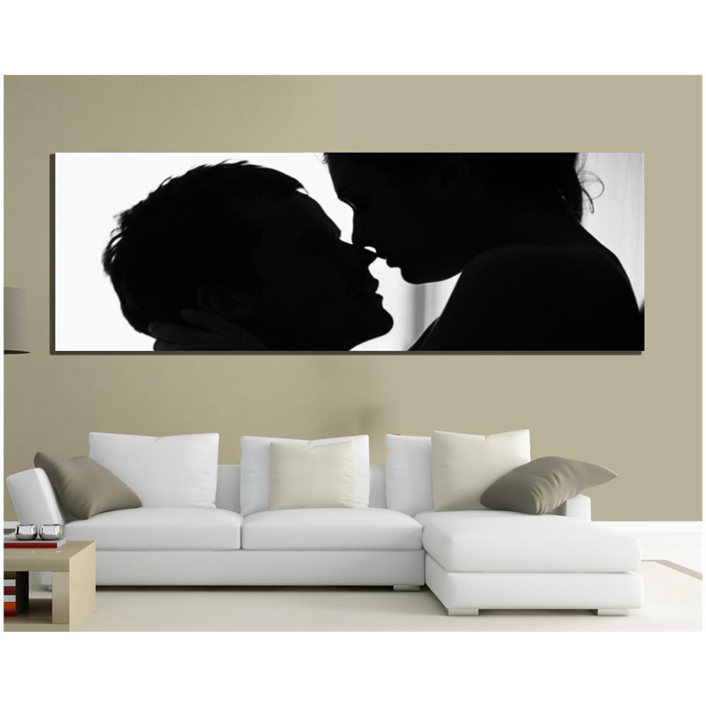 PIXEL COMUNICAZIONE - Quadri Moderni Tela 150x50 Amore Love Bianco E ...