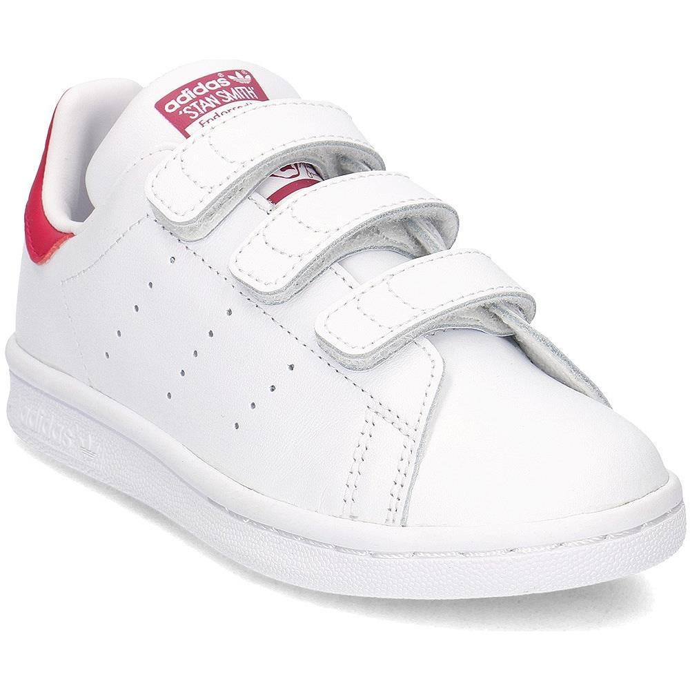 Adidas Stan Smith Cf C Scarpe Sportive Bambina Bianche Pelle Strappi B32706 28