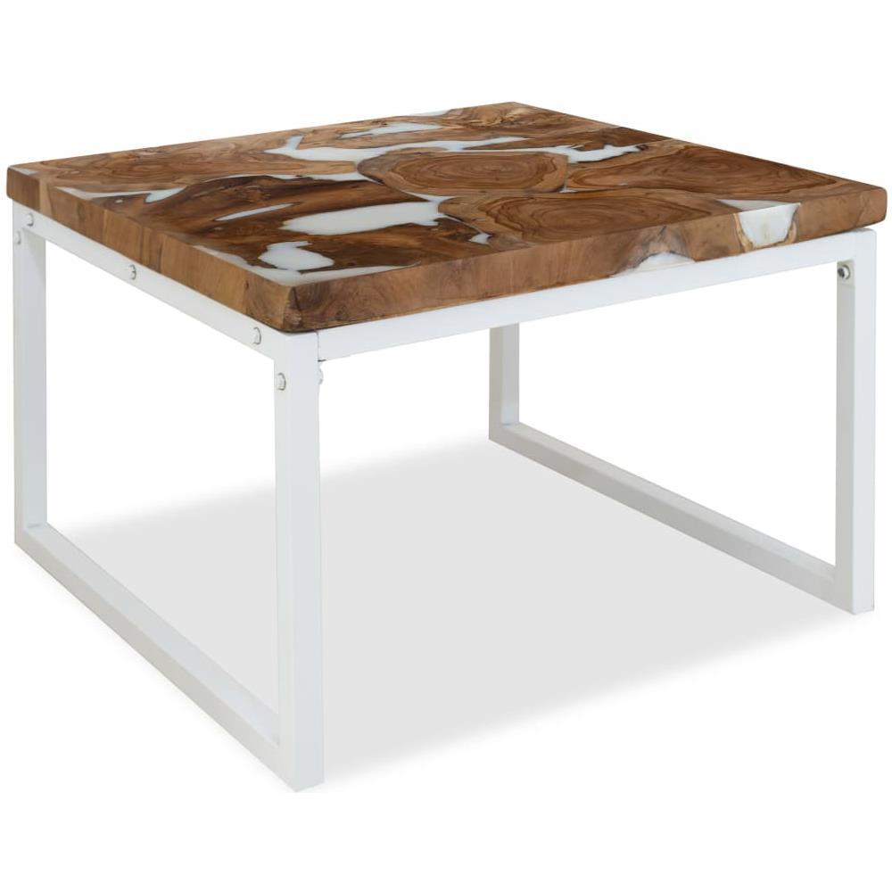 Vidaxl Tavolino Da Caffe In Legno Di Teak E Resina 60x60x40 Cm Eprice