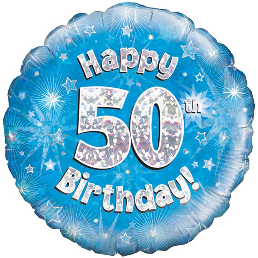Oaktree Palloncino Blu Di Buon Compleanno Per I 50 Anni Taglia