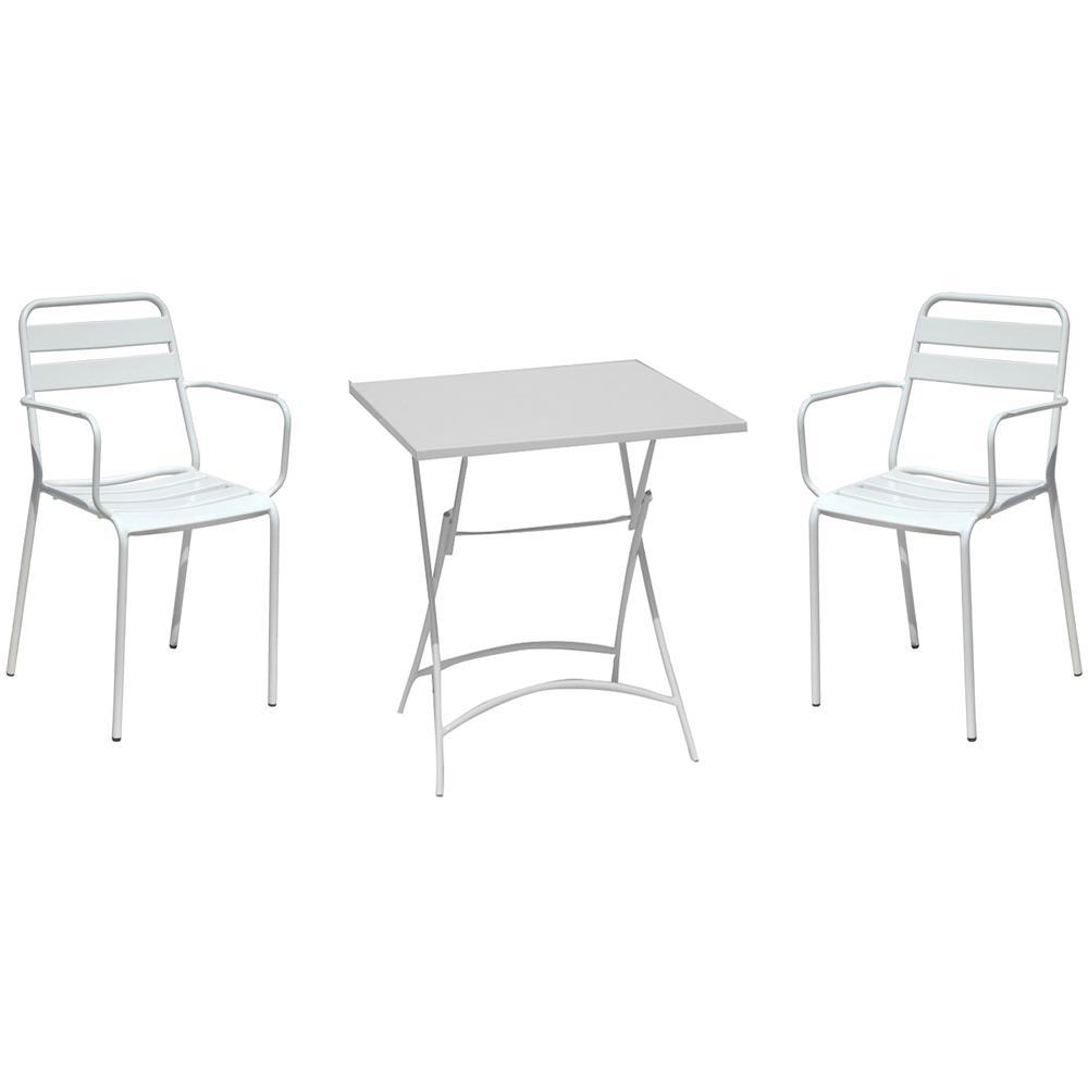 Tavolo Giardino Ferro Bianco.Milanihome Set Tavolo Quadrato Fisso 70 X 70 Con 2 Poltrone In