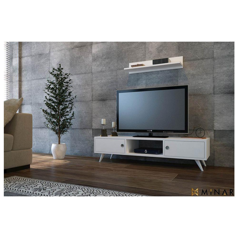 Homemania - Mobile Porta Tv Cd Ripiani Supporto Aspen Legno Bianco ...
