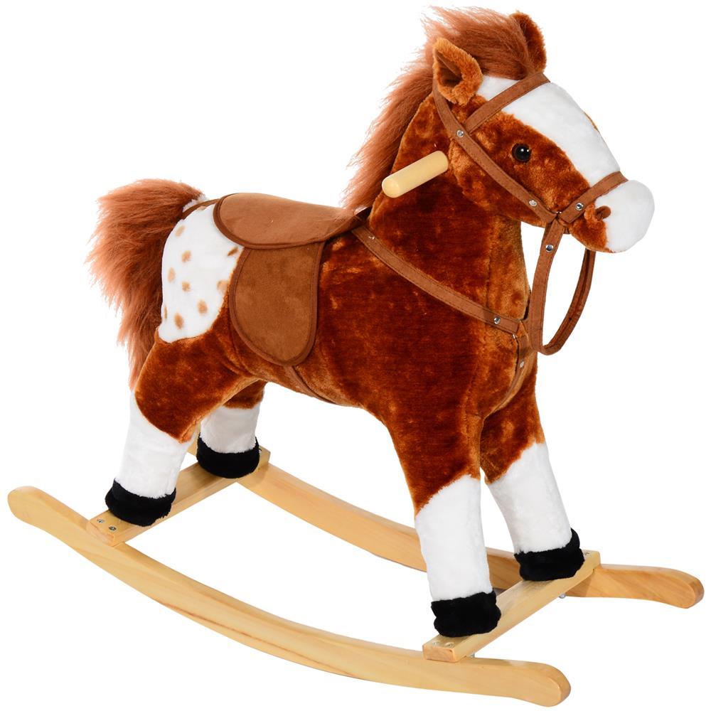 Cavallo A Dondolo In Peluche.Homcom Cavallo A Dondolo In Peluche Con Suoni Per Bambini Marrone