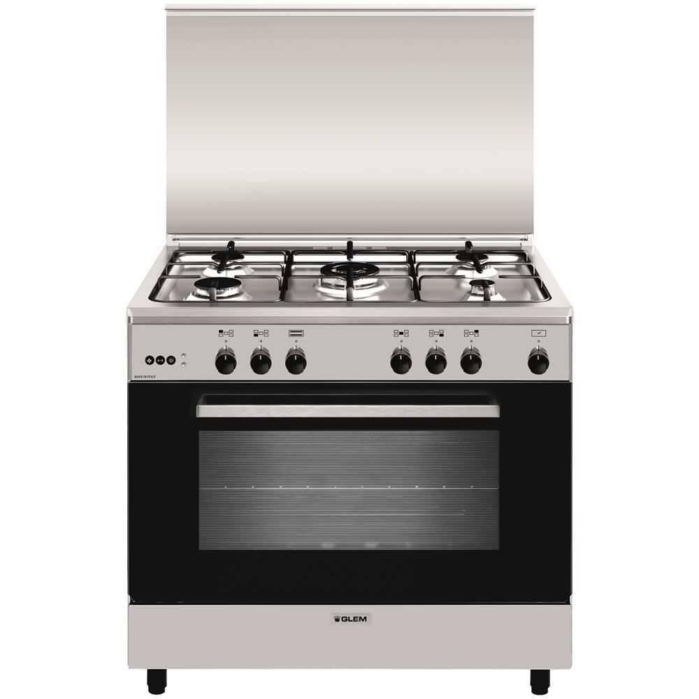GLEM GAS Cucina Elettrica A965VI 5 Fuochi Gas Forno Gas Classe A Dimensione  90 x 60 cm Colore Inox