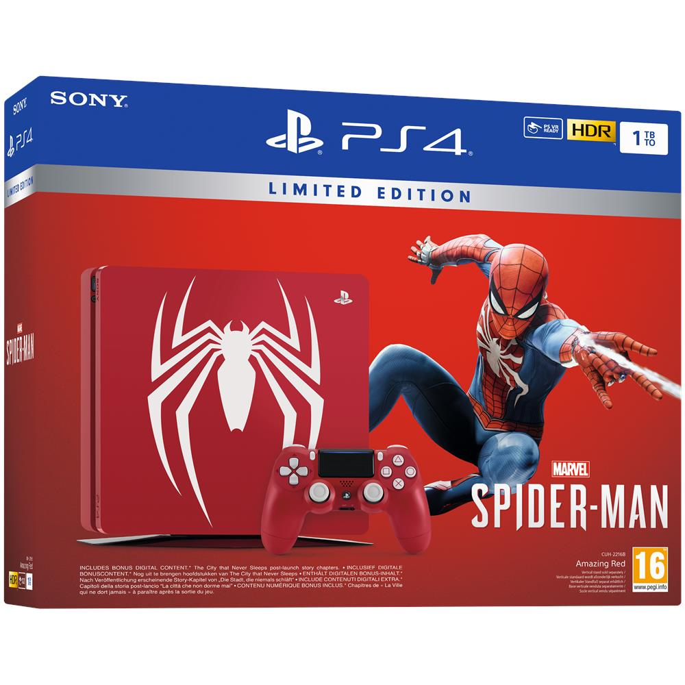 Console Playstation 4 1 TB Slim + Marvel's Spider-Man Amazing Red Limited Edition