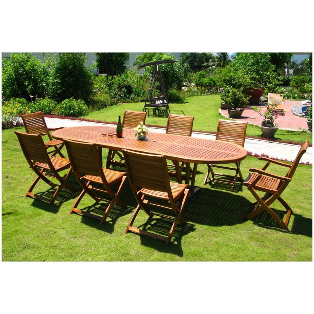 Tavolo Con Sedie Per Giardino.Milanihome Set Tavolo Giardino Allungabile Ovale 200 300 X 110 Con